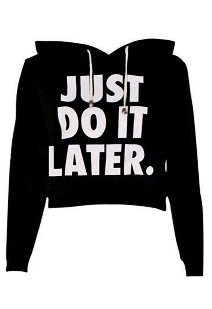 Do It Crop Sweatshirt in Black   Missrebel