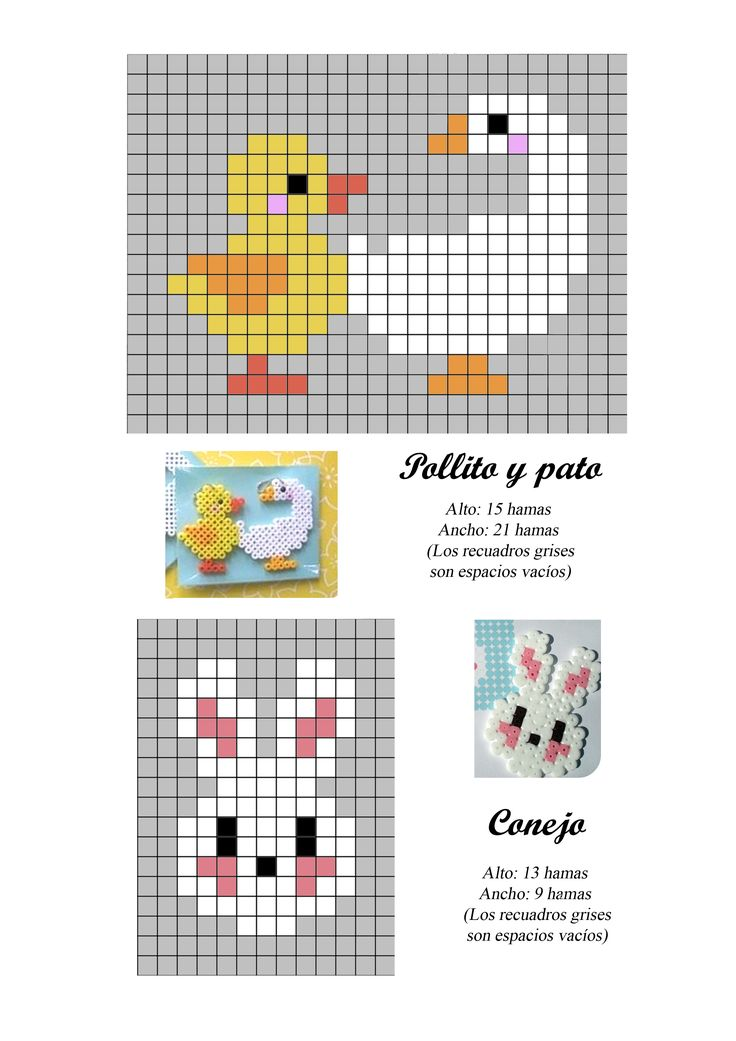 Chick, duck and bunny hama perler beads pattern