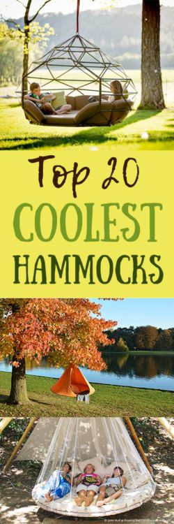 Coolest Hammocks ever! A list of the top 20 coolest hammocks and it's got everything from an outdoor cage hammock, to an indoor hanging seat hammock, to a kayak hammock, to a tent hammock, to a... wait for it... bathtub hammock!