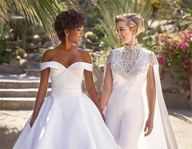 Two perfect wedding outfits! Orange is the New Black stars Lauren Morelli and Samira Wiley have tied the knot following their engagement last year.