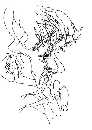 Nol - tekening in viltstift op papier - 12 x 9 cm - Cobi de Jong