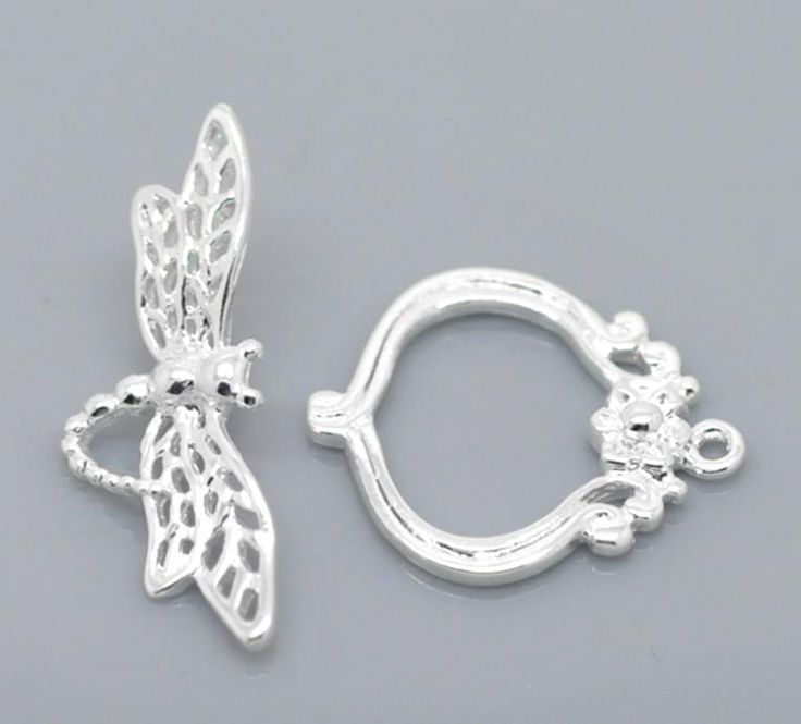 Buy SILVER PLATED DRAGONFLY FLOWER TOGGLE CLASPfor R5.60