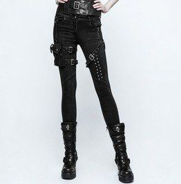 eyelets skinny elastic punk jeans with 3d pocket womens jeans
