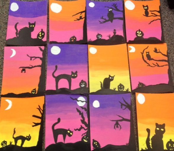 Fun Halloween art activity - draw a black cat and make a spooky sunset.