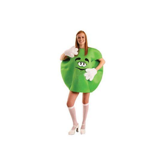 Groen M en M kostuum volwassenen. Dit groene M en M kostuum voor volwassenen bestaat uit de M en M, de handschoenen en de schoencovers. Het kostuum one size. Carnavalskleding 2015 #carnaval