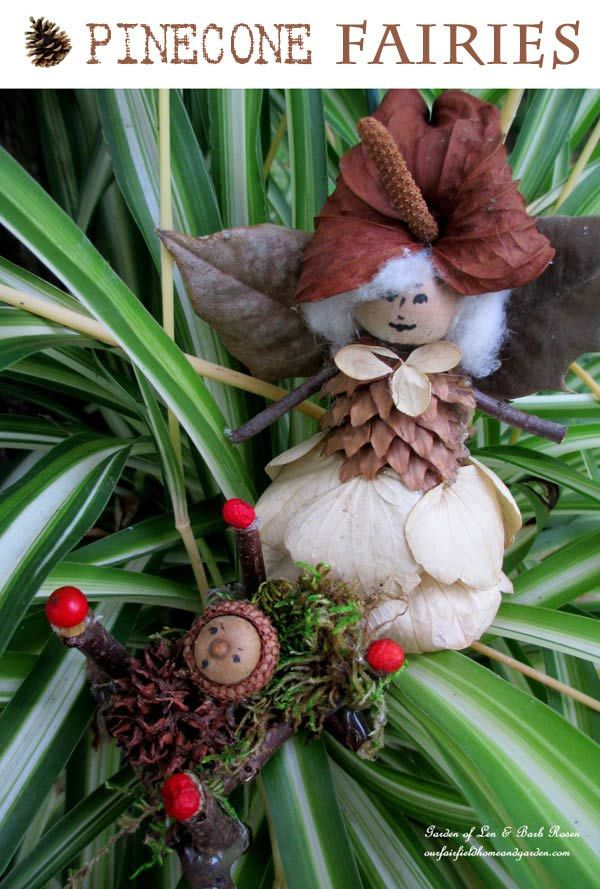 Pinecone Fairies - a recycled craft project by ourfairfieldhomeandgarden.com/diy-project-fairies-for-free/ #earthdayprojects