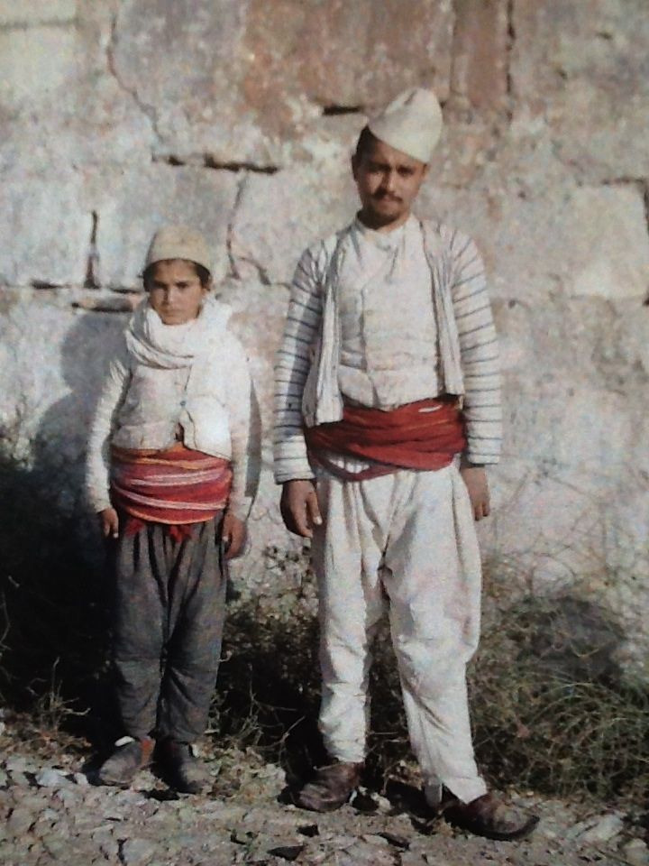 Two Albanian Muslims,  Durres, Albania. 1913, 16 October. Photographer Auguste Leon.                                                                                                               Albania and Kosovo in Colour 1913 Robert Elsie (ed), Auguste Leon (phot) The Autochromes of the Albert Kahn Collection, Paris, France.  Amazon.co.uk. £ 29