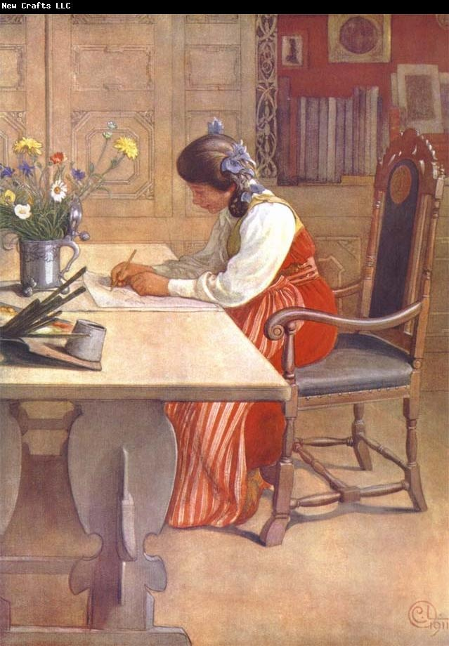 Carl Larsson Hilda. #reading, #books, #writing