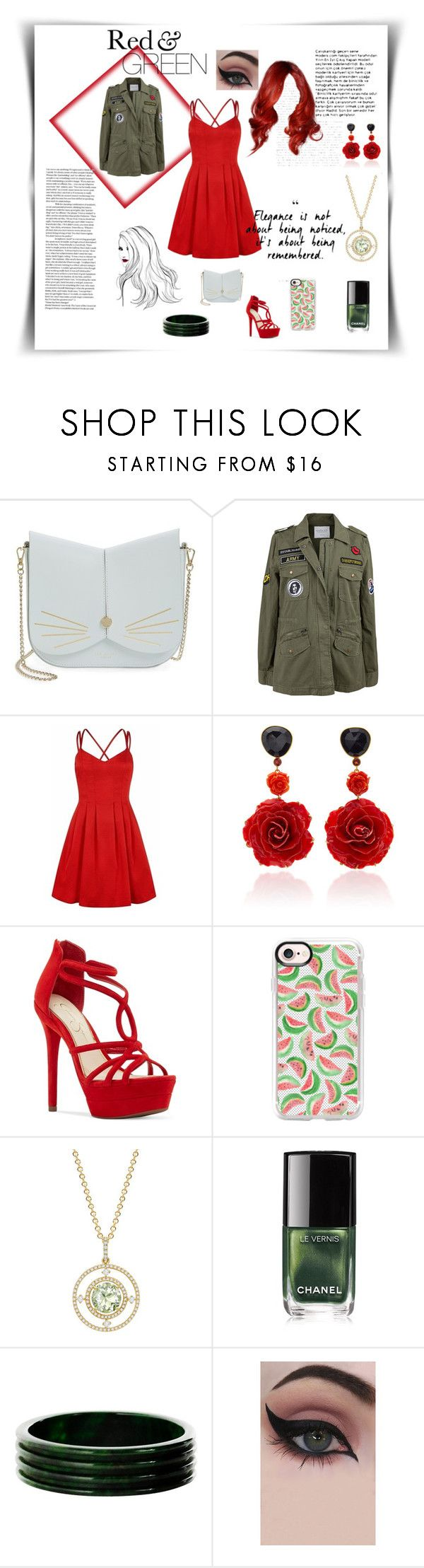 """Red and green contest"" by lizenn-annah-binet ❤ liked on Polyvore featuring Ted Baker, Velvet by Graham & Spencer, Bahina, Jessica Simpson, Casetify, Kiki mcdonough, Chanel and Concrete Minerals"