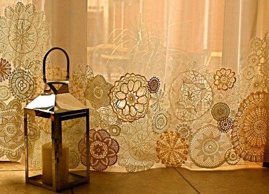 DIY doily curtains...so pretty!
