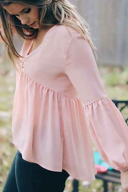 blush pink flowy blouse with bell sleeves Brittany Comeaux