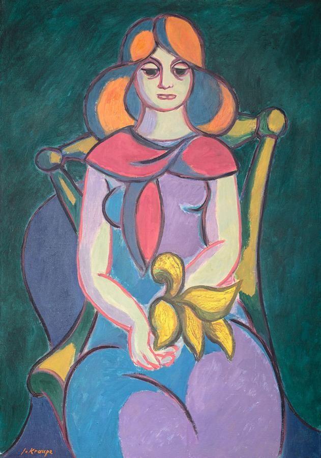 Janina Kraupe-Świderska: Rudowłosa, 1955 r. olej, płótno, 100 × 70 cm sygn. l.d.: J.Kraupe