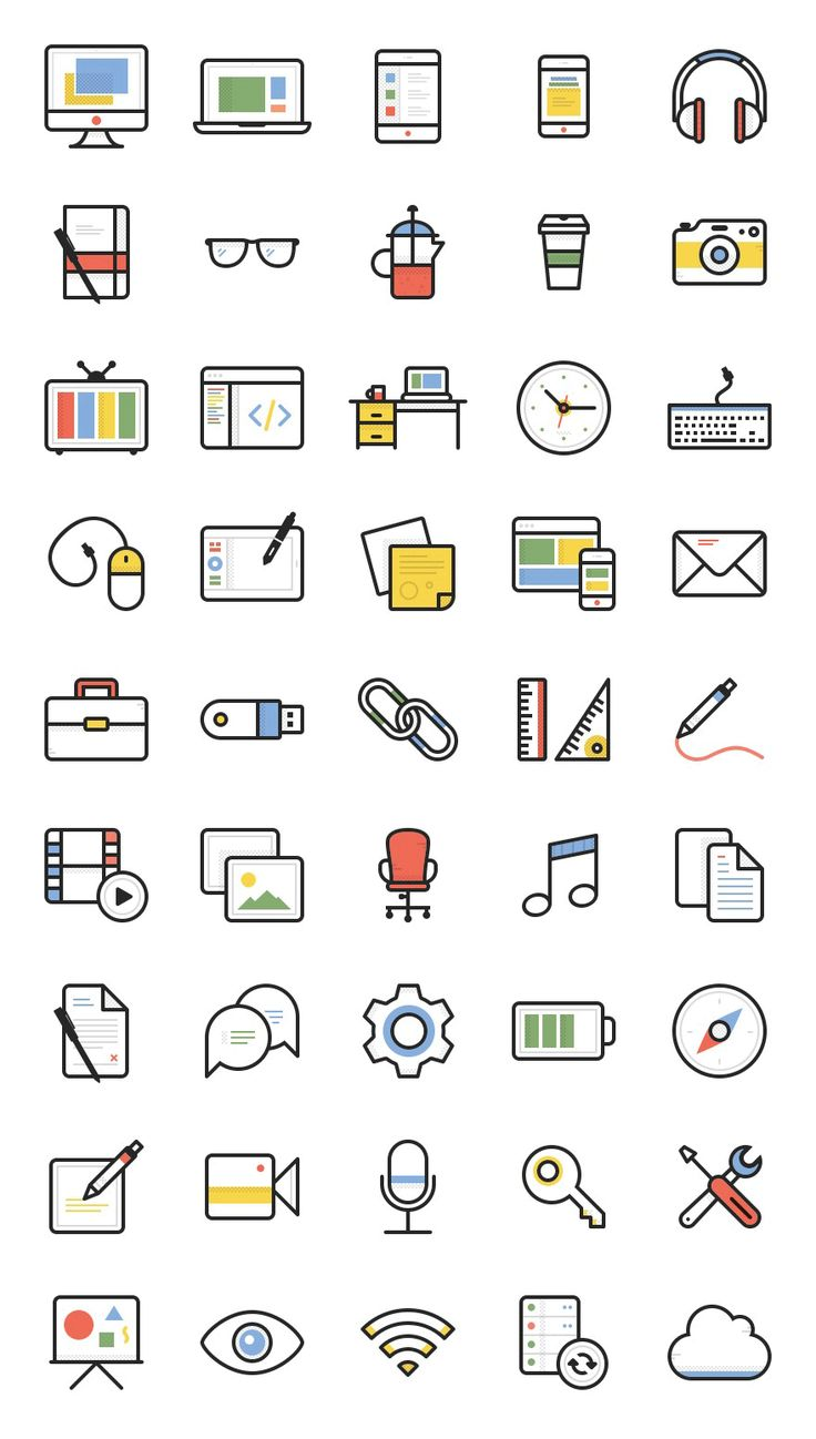 Set of icons to be used in lesson content and on posters for Learning Resources.