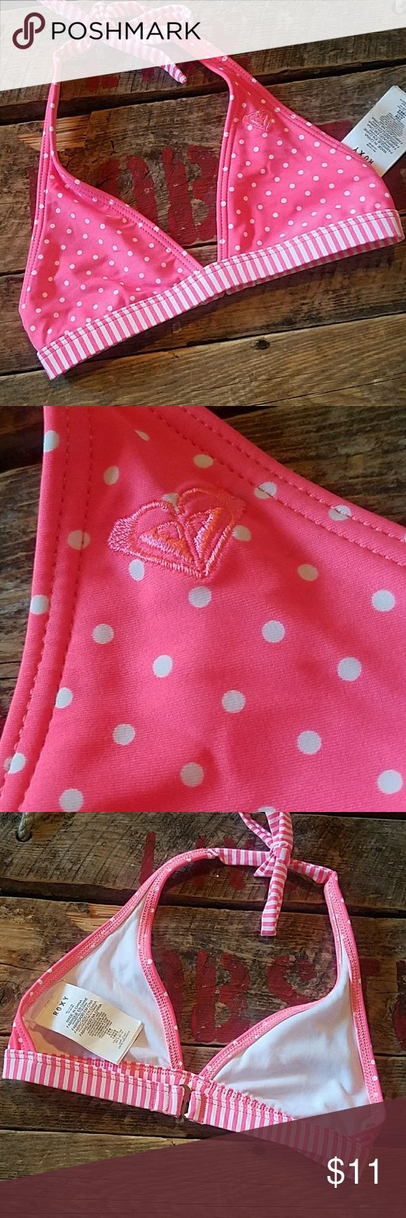 NWT ROXY Bikini Top New With Tags Pink Stripped & Polka Dot Bikini Top. Neck ties, back closure Size 6-8 Roxy Swim Bikinis