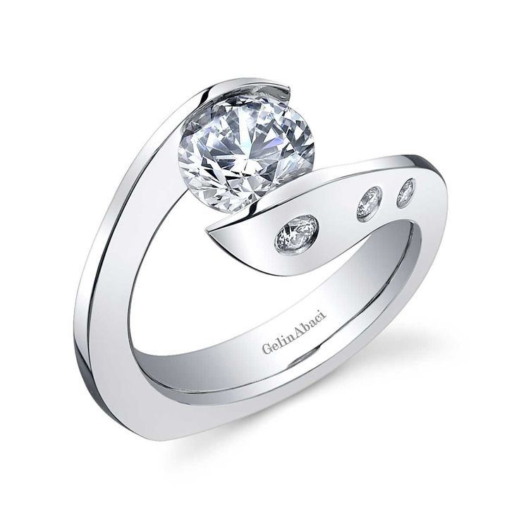 Contemporary Tension Set Wedding Rings For Women