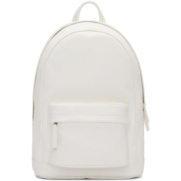 Pb 0110 White Leather CA 7 Backpack ($510) ❤ liked on Polyvore featuring bags, backpacks, white leather bag, leather knapsack, white bags, leather bags i handle bag
