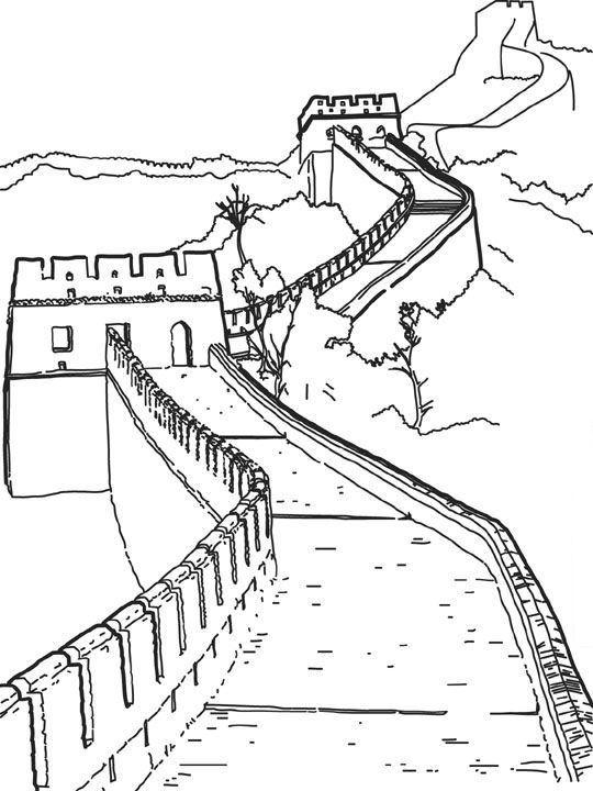 coloring page World wonders -  The Great Wall of China