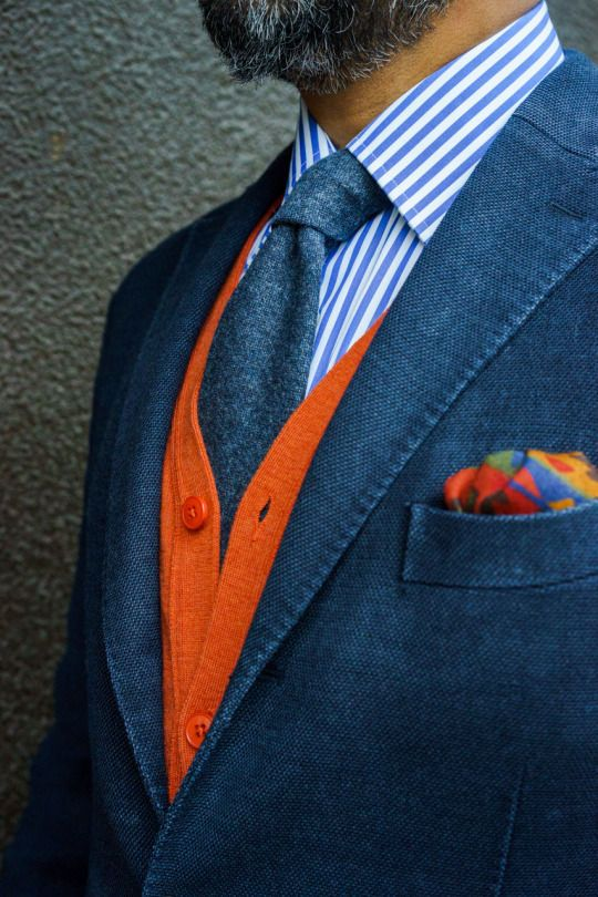 styleforumnet:  @gezzasmenswear rocking a bold color cardigan and matching pocket square. Share your best attire in the What Are You Wearing Today thread!