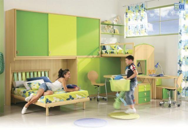 Green colors teenage room decorating ideas
