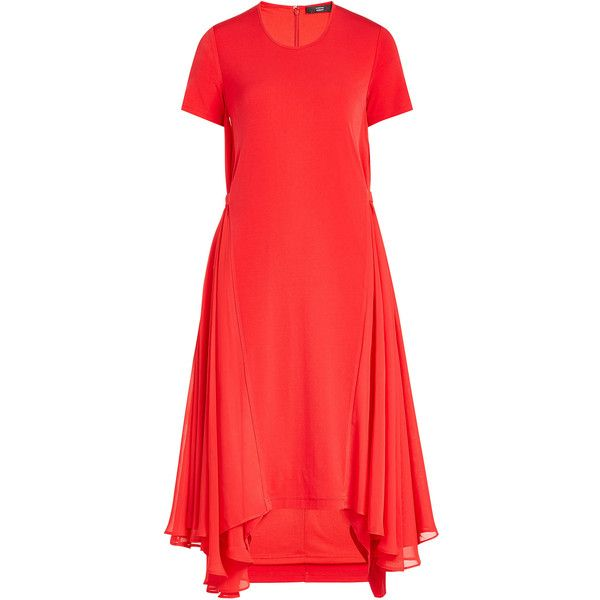 Steffen Schraut Dress ($300) ❤ liked on Polyvore featuring dresses, red, mullet dress, red hi low dress, short sleeve high low dress, short-sleeve dresses and red dress