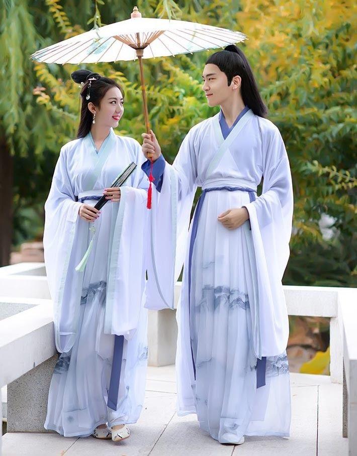 c0dee9f4c White Hanfu Dress Wide Sleeve,Couples Hanfu Ruqun,Chinese Ink Style Hanfu  Male
