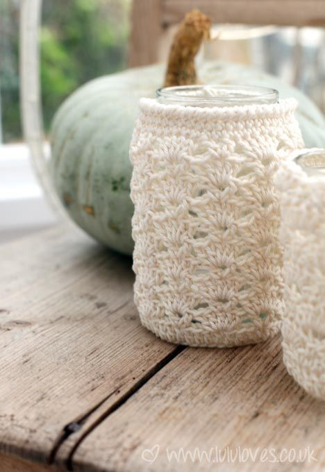 Crochet Jar Cosy Pattern and tutorial from lulu loves.  Great idea to make holders for soft drinks too!   :)