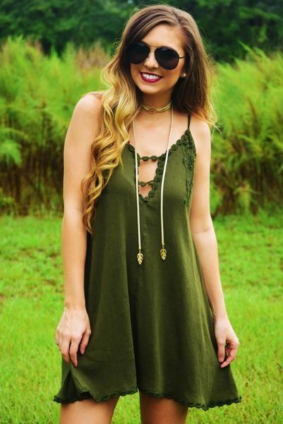 Stick Around Dress: Olive