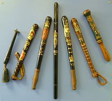 Early 20th century police truncheos; also called baton, cosh, stick, billystick, billy club, nightstick.