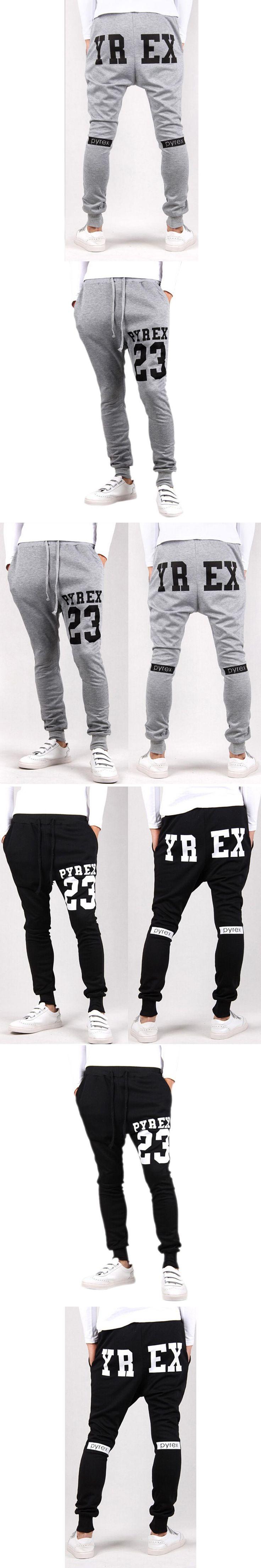 Baggy tapered bandana pant hip hop dance harem sweatpants drop crotch pants men parkour track trousers black Light Gray