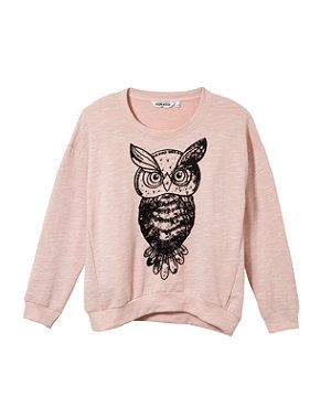 sweatshirts for teens | Shell Pink (Pink) Teens Pink Owl Print Sweatshirt | 262194972 | New ...