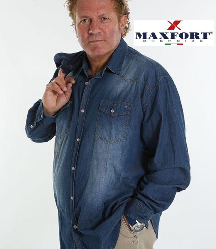 camicie uomo manica lunga jeans maxfort taglie forti 3xl 4xl 5xl 6xl 7xl 8xl