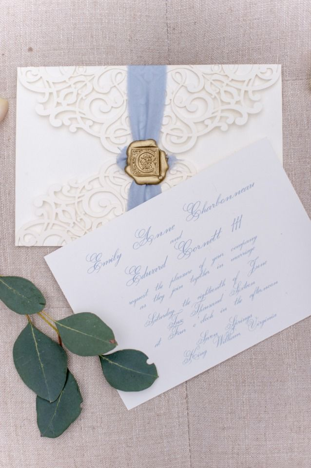 laser cut wedding invites canada%0A gold and blue laser cut wedding invitations with wax seal
