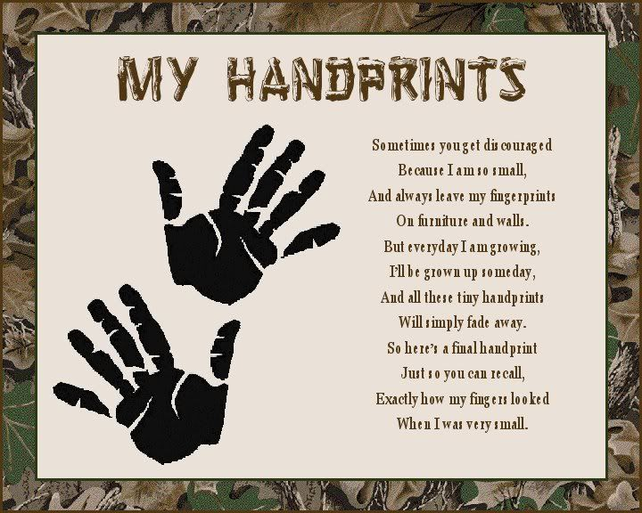 baby handprint poem | CAMOUFLAGE Baby Handprints Scrapbook Poem Print ...