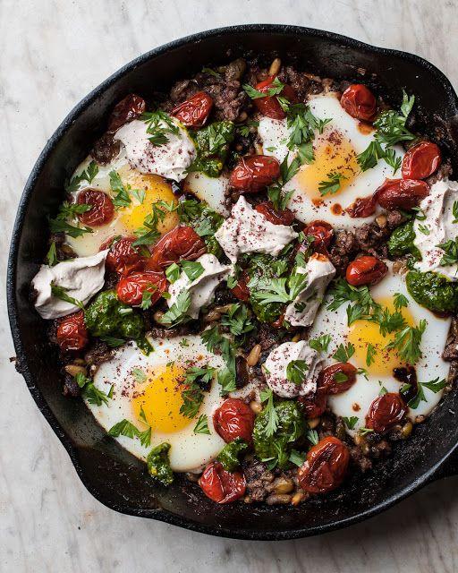Braised Eggs with Lamb, Tahini & Sumac From Jerusalem by Yotam Ottolenghi & Sami Tamimi