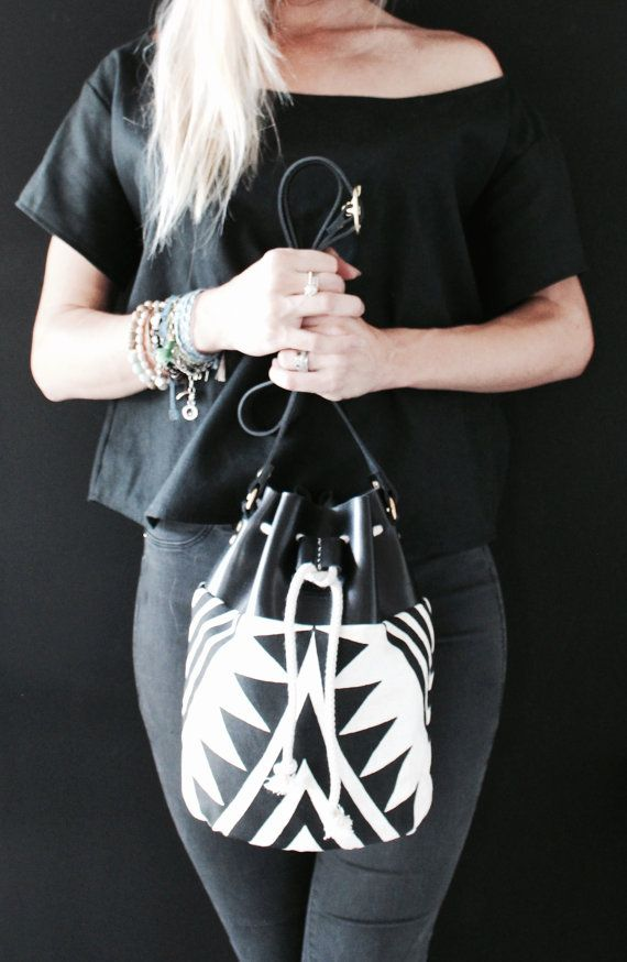 Bucket Bag Boho Bag Black and White handmade by EcoCollectiveAus