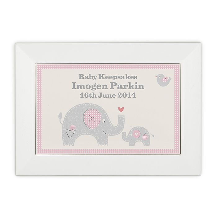 £24.95 Personalised Childrens Keepsake Box http://justtherightgift.co.uk/personalised-pink-baby-elephant-wooden-keepsake-box