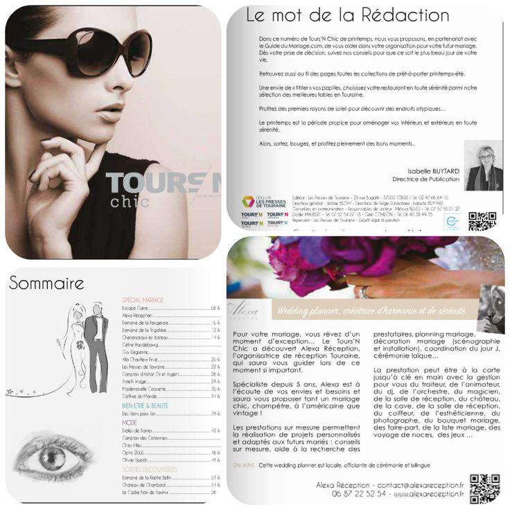 ToursN Chic-Avril 2016  Dossier spécial Mariage Tours Organisation de mariage en Touraine