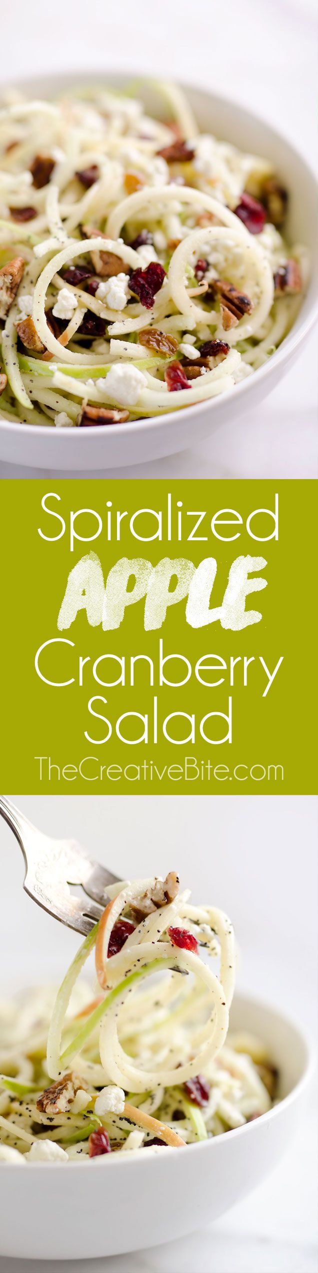 Spiralized Apple Cranberry Salad is an easy 10 minute recipe made with crunchy apples, cranberries, pecans and goat cheese all tossed in a light Citrus Poppy Seed Dressing, for a healthy and delicious side dish or vegetarian entree you will love! #Spiralized #Healthy #Salad #LowFat #Apple