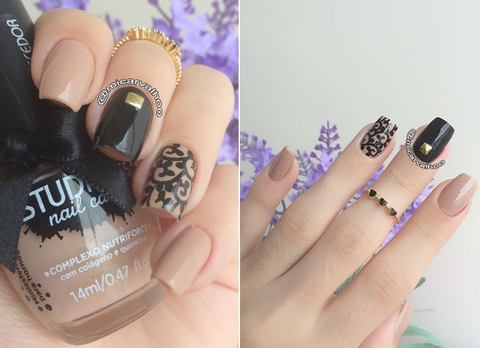 Nude and Black nails. Tribal nail art. Filter of Dreams Nail design. Polishes. Polish. by @micarvalhoo Esmalte Cairo Studio35. Unhas nudes.