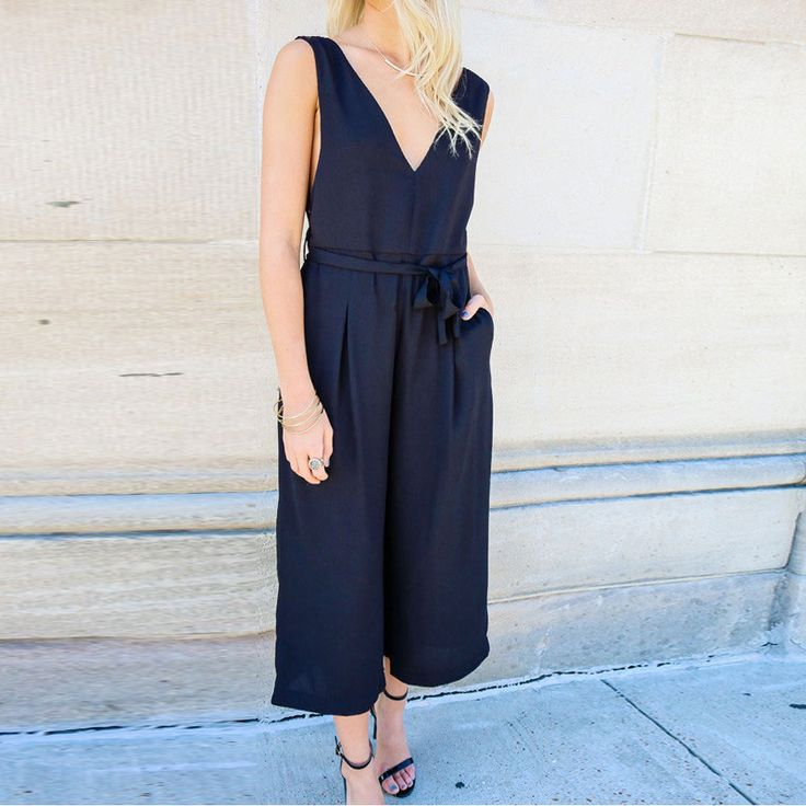 Top Sexy New Women Playsuit Summer Sleeveless Backless Jumpsuits Romper Casual Loose Wide Leg Pants Elegant Overalls