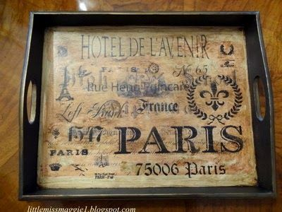 trays, painted, reverse decoupage, stencils and rubber stamps...create amazing depth