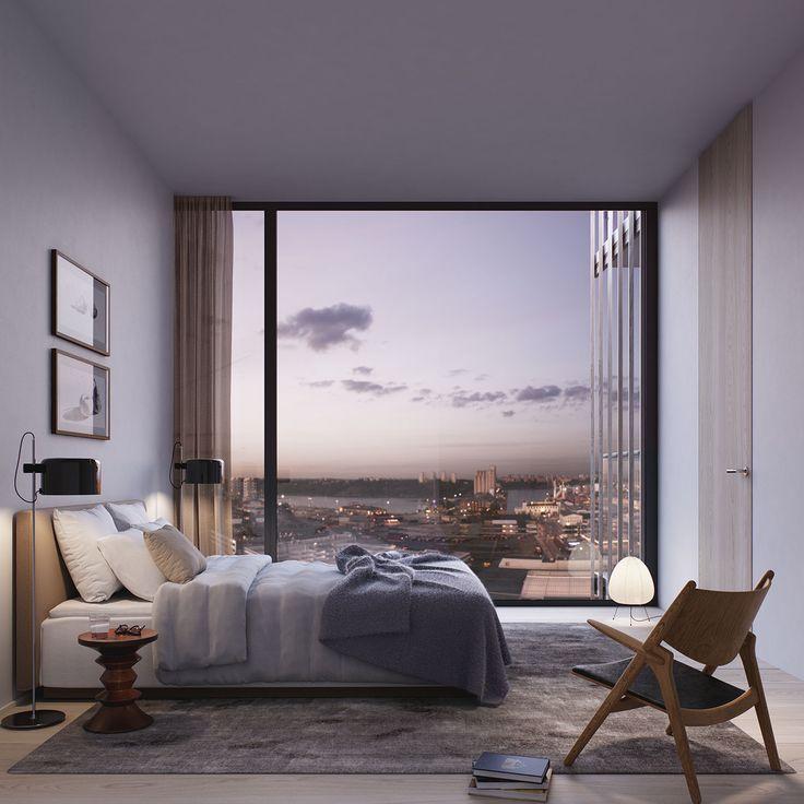 Oscar Properties - BIG - Stockholm - design - architecture - bedroom - view - bed - dusk - lamp - sunrise