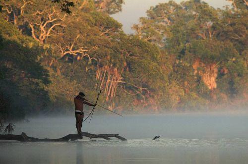 Povos nativos do Brasil. Pesca com arco e flecha.
