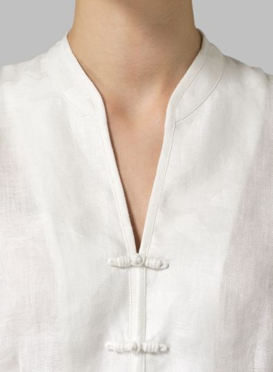 MISSY Clothing - Linen Three Quarter Chinese Jacquard Blouse