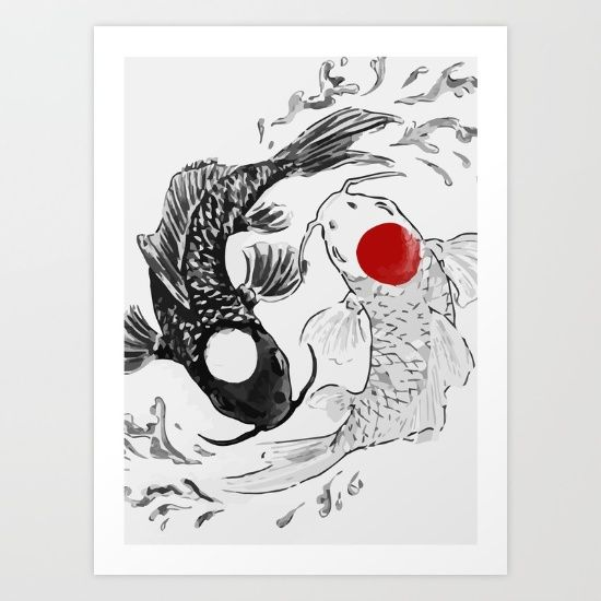 Koi fish, ying yang, Koi, fish.
