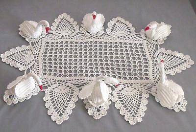 """Large Vintage Crocheted Swan Doily, 6 Swans, 16X24"""""""