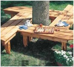 Free Garden Bench and Tree Bench Plans – Select from dozens of beautiful outdoor bench designs and build your favorite  with the help of these free, DIY woodwork project plans and building guides. ( Photo: HandymanClub.com )