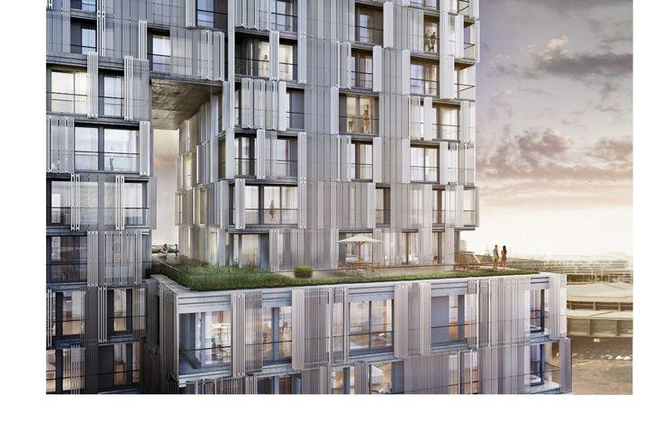 """Tower """"Meret Oppenheim""""/Herzog & de Meuron. Switzerland, Basel  Эта высотная композиция, как бы составлена из нескольких прямоугольных объемов. Такое решение позволило лучше вписать 80-метровый объем в довольно низкую окружающую застройку, а также создать различные террасы, выступы и даже пустоты, усложняющие и разнообразящие как внешние, так и внутренние пространства. На первом этаже планируется ресторан, выше будут расположены офисные помещения, включая телерадиостудию Schweizer Radio und…"""