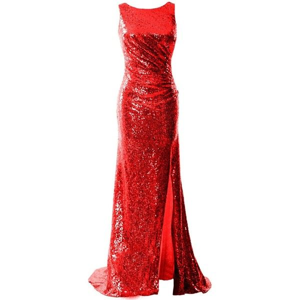 MACloth Women Cowl Back Sequin Formal Party Gown with Slit Maxi Prom... ($122) ❤ liked on Polyvore featuring dresses, gowns, red formal dresses, red ball gown, red homecoming dresses, formal evening gowns and slit maxi dresses