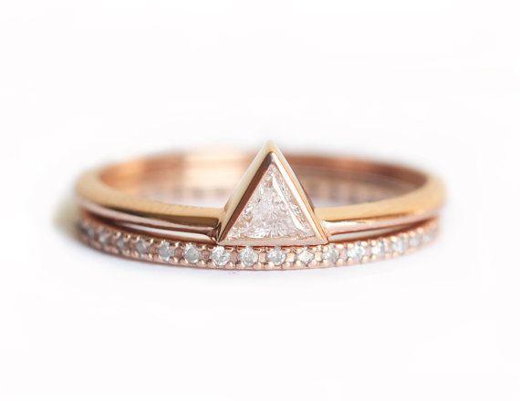 Conjunto de boda de diamante de oro rosa juego de por MinimalVS